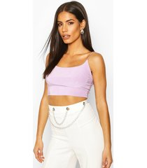 double slinky strappy crop top, lilac