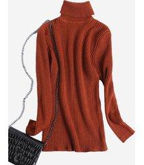 maglione lavorato a maglia da donna a tinta unita casual