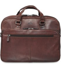 mancini buffalo collection expandable double compartment laptop/ tablet briefcase
