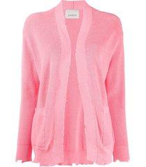 laneus distressed open-front cardigan - pink