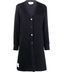 thom browne logo-patch cardi-coat - blue
