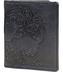 fuselage paisley-embossed magnetic flip leather card case