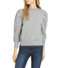 women's frame puff shoulder sweatshirt, size x-small - grey