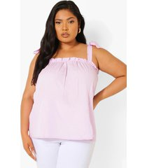 plus geweven hemdje met schouderstrikjes, lilac