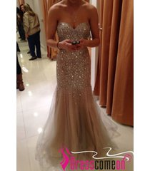 champagne mermaid sweetheart prom dress with crystals,evening/party dresses l7