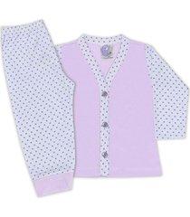 conjunto pijama bebê com botões poá lilas - look infantil