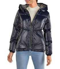 cole haan women's glazed down puffer hooded jacket - black - size l