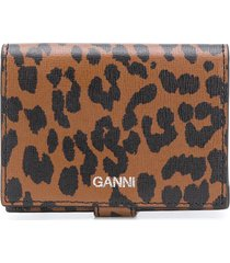 ganni leopard-print folding wallet - brown