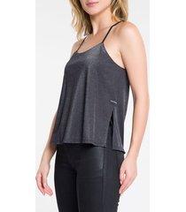 blusa regata feminina metalizada preta calvin klein jeans - gg