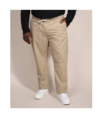 calça masculina plus size slim chino com cordão kaki
