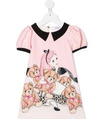 monnalisa teddy bear print dress - pink