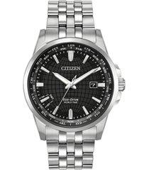 citizen eco-drive men's world time stainless steel bracelet watch 41mm