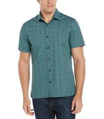 men's geo cluster floral short sleeve stretch button - down shirt
