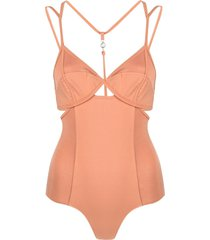 remain strappy-panelled bodysuit - brown