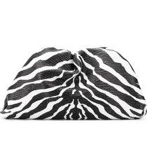 bottega veneta the pouch zebra print clutch - black