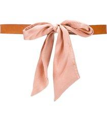 forte forte bow-front waist belt - brown