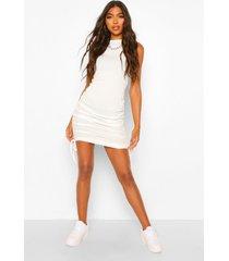 tall geribbelde geplooide mini jurk, crème