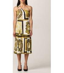 versace dress versace one shoulder midi dress with baroque print