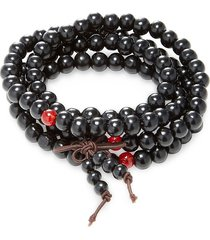 jean claude men's red jade buddha beaded bracelet - black