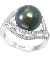 effy cultured black tahitian pearl (11mm) & diamond (3/8 ct. t.w.) statement ring in 14k white gold