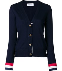 thom browne v-neck cardigan with red, white and blue grosgrain cuff in