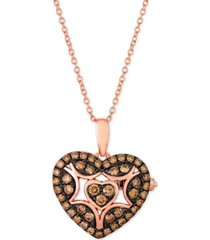 "le vian chocolatier chocolate diamond heart 18"" pendant necklace (1/2 ct. t.w.) in 14k rose gold"