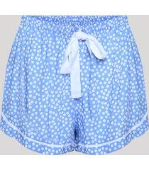 short de pijama listrado com vivo contrastante e amarração azul claro
