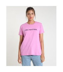"t-shirt feminina mindset you matter"" manga curta decote redondo rosa"""