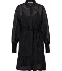jurk met strikceintuur fana  zwart
