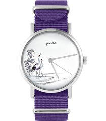 zegarek - żurawie sumi-e - fiolet, nylonowy
