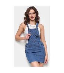 macacão jeans biotipo jardineira feminino