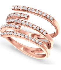 giani bernini cubic zirconia five row wrap ring in 18k rose gold-plated sterling silver, created for macy's