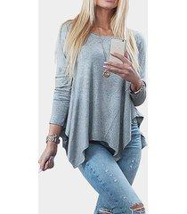 blusa de fondo asimétrica plisada gris