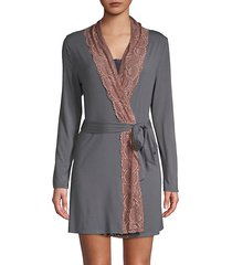 lace trim short robe
