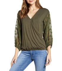 loveappella dot chiffon sleeve faux wrap top, size medium in olive at nordstrom