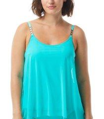 coco reef current mesh-layer bra-sized tankini top women's swimsuit