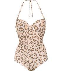amir slama animal print swimsuit - brown