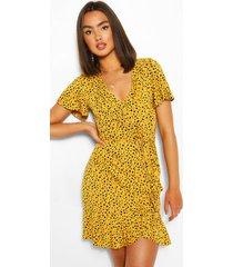 dalmatian print ruffle tea dress, yellow