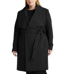 plus size women's lauren ralph lauren crepe belted wrap coat, size 3x - black