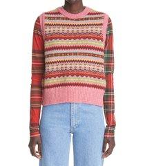 molly goddard bibi fair isle wool sweater vest, size small in pink fair isle at nordstrom
