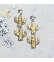 unikatowe klipsy lub kolczyki - kaktusy glam