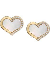 effy mother-of-pearl & diamond (1/10 ct. t.w.) heart stud earrings in 14k gold