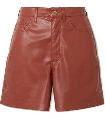 leana vegan stretch-leather shorts
