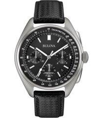 limited edition bulova men's special edition lunar pilot chronograph black leather strap & nylon strap watch 45mm 96b251