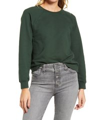 women's ag jadyn crewneck raglan cotton sweatshirt, size large - green