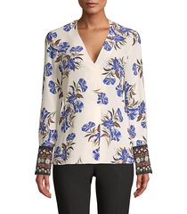 kobi halperin women's andes printed silk blouse - ivory multicolor - size s