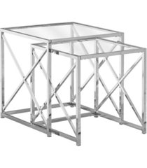 monarch specialties nesting table - 2 piece set with tempered glass