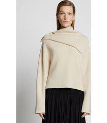 proenza schouler doubleface cashmere draped sweater ecru/neutrals l