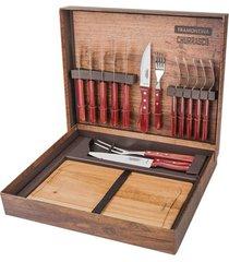 kit para churrasco inox da tramontina com cabo vermelho polywood - 15 peças