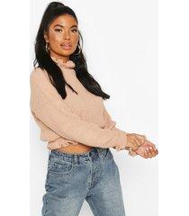 petite frill hem & cuff cropped sweater, blush